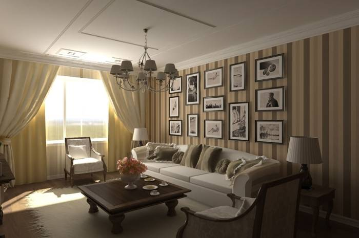 Использование полосатых обоев в гостиной