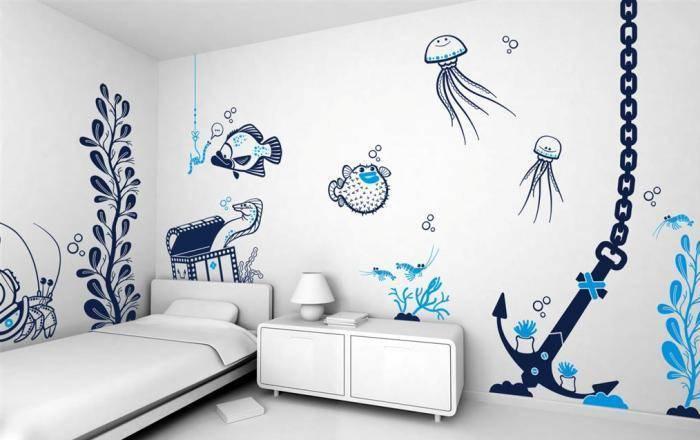 Рисунки на стенах детской