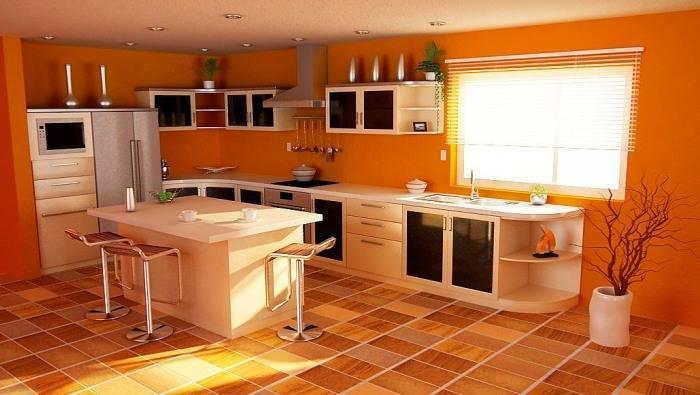 Яркий интерьер большой кухни