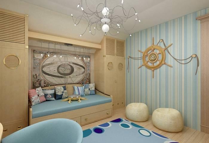 Маленькая детская комната в морской тематике