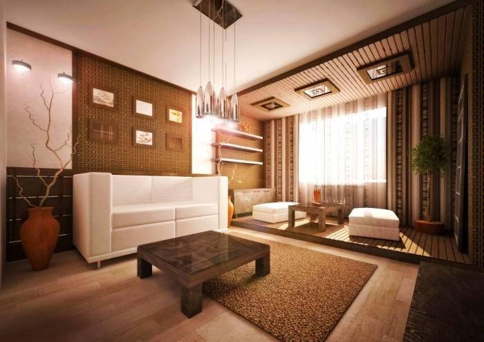 Гостиная комната удачно зонированная отделочными материалами