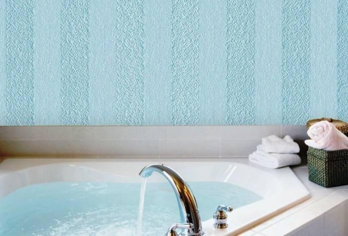 Использование в ванной обоев под покраску