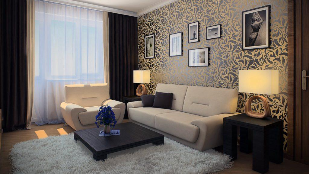 Светлые обои в гостиную: фото реального интерьера
